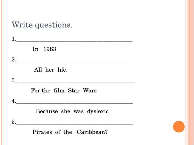 Write questions. 1.________________________________________ In 1983 2._______...