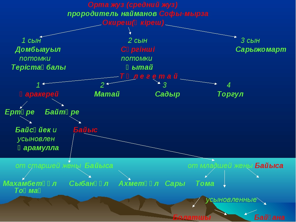 Орта жуз (средний жуз) прородитель найманов Софы-мырза Окиреш(Өкіреш)  1 сы...