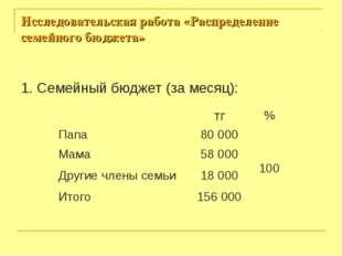 Исследовательская работа «Распределение семейного бюджета» 1. Семейный бюджет
