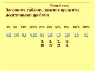 Устный счет. Заполните таблицу, заменив проценты десятичными дробями 1%5%1