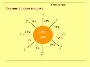 Устный счет. Замените знаки вопроса: 100% 2400 75% 50% 25% 20% 10% 5% 1% 0,5