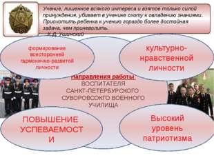 Направления работы ВОСПИТАТЕЛЯ САНКТ-ПЕТЕРБУРСКОГО СУВОРОВСОКГО ВОЕННОГО УЧИ