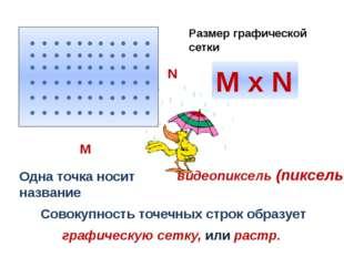 Одна точка носит название Совокупность точечных строк образует M x N Размер г