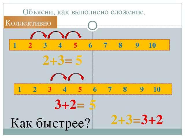 Объясни, как выполнено сложение. 1 2 3 4 5 6 7 8 9 10 1 2 3 4 5 6 7 8 9 10 2+...