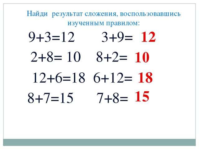 Найди результат сложения, воспользовавшись изученным правилом: 9+3=12 3+9= 2+...