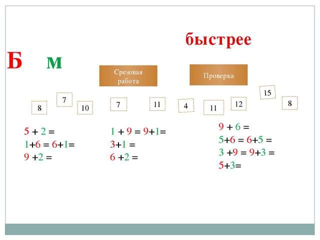 Выполни сложение чисел так, чтобы было быстрее Б + м 7 7 11 10 4 15 Срезовая...