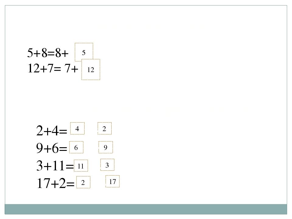 Впиши нужные числа. 5+8=8+ 12+7= 7+ 5 12 Переставь числа при сложении. 2+4= 9...