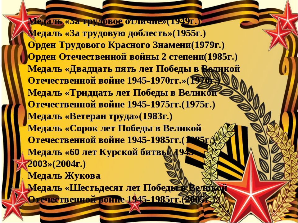 Медаль «За трудовое отличие»(1949г.) Медаль «За трудовую доблесть»(1955г.) Ор...