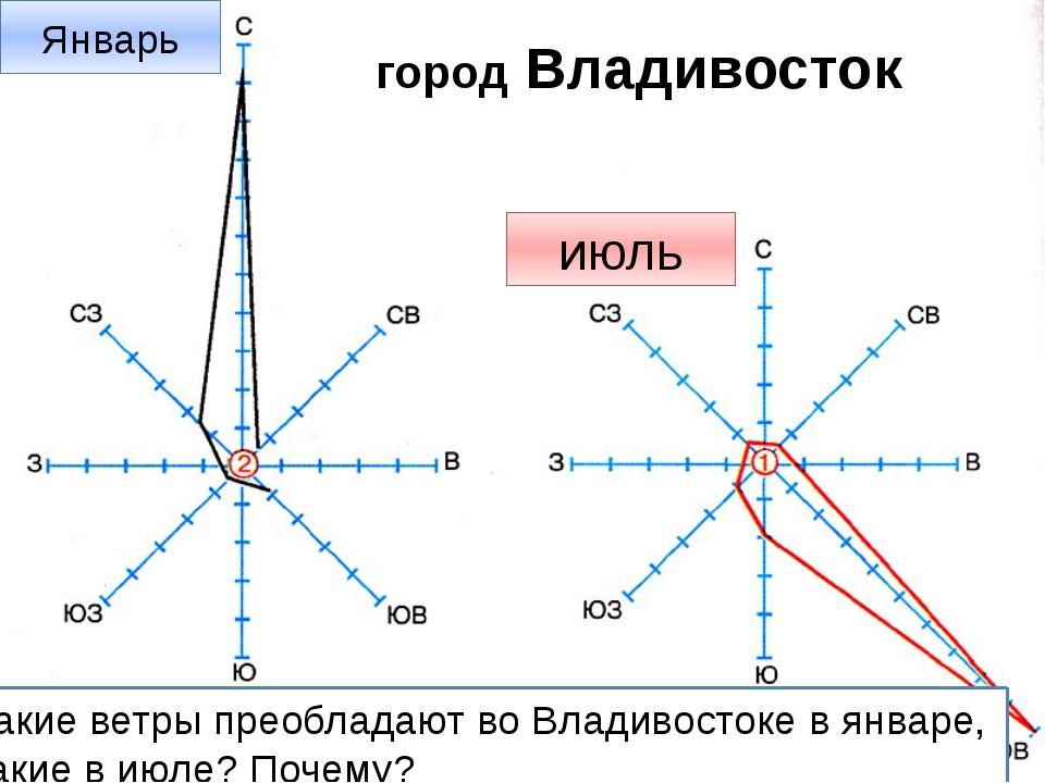 Роза ветров город Владивосток Январь июль Какие ветры преобладают во Владивос...