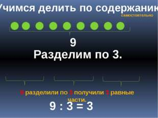 Учимся делить по содержанию 9 Разделим по 3. 9 : 3 = 3 9 разделили по 3 получ