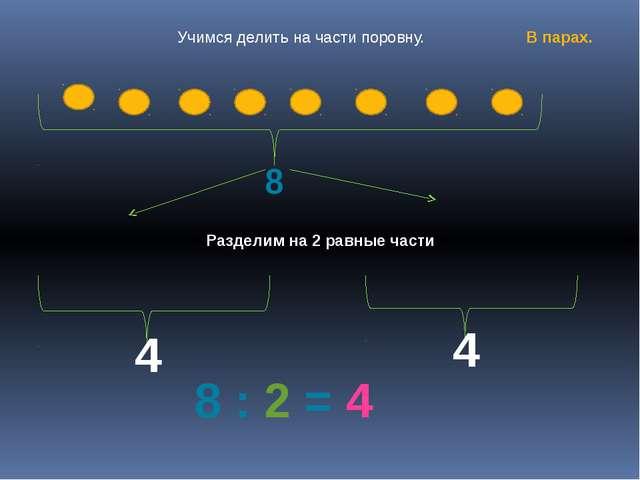 8 4 4 8 : 2 = 4 Разделим на 2 равные части Учимся делить на части поровну. В...
