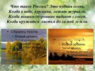 Что такое Россия? Это чудная осень, Когда в небе, курлыча, летят журавли, Ког