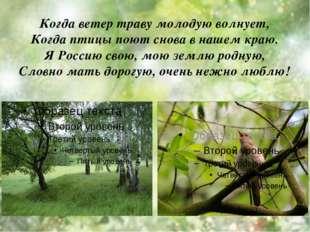Когда ветер траву молодую волнует, Когда птицы поют снова в нашем краю. Я Рос
