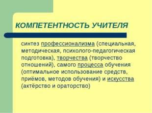 КОМПЕТЕНТНОСТЬ УЧИТЕЛЯ синтез профессионализма (специальная, методическая, пс