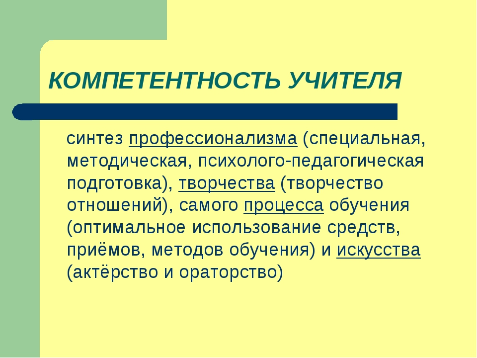 КОМПЕТЕНТНОСТЬ УЧИТЕЛЯ синтез профессионализма (специальная, методическая, пс...
