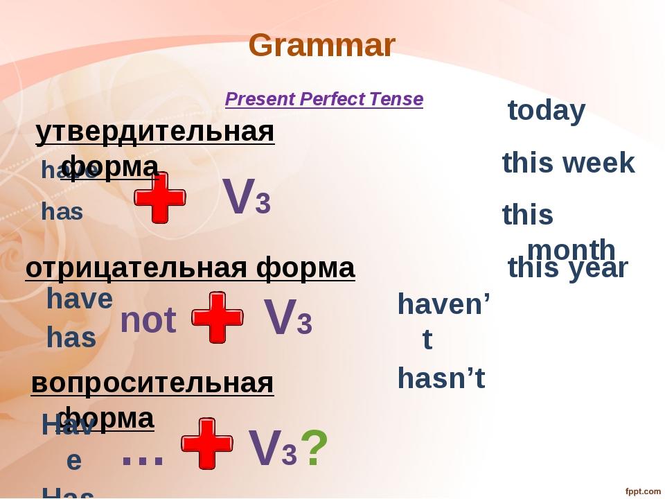 Grammar have has Present Perfect Tense V3 отрицательная форма утвердительная...