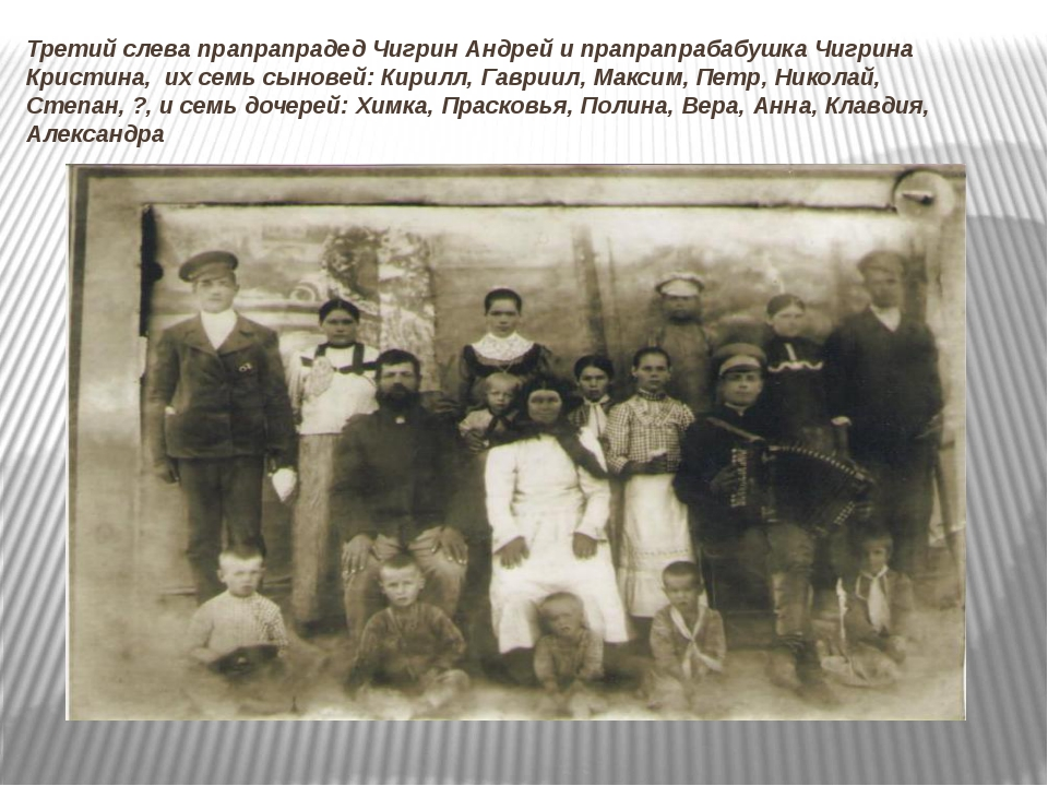 Третий слева прапрапрадед Чигрин Андрей и прапрапрабабушка Чигрина Кристина,...