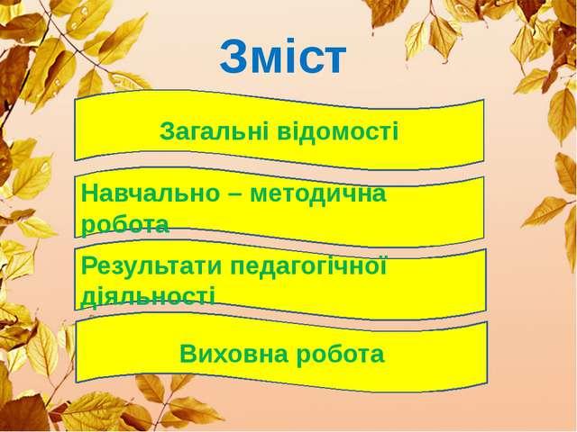 Зміст Загальні відомості Навчально – методична робота Результати педагогічної...
