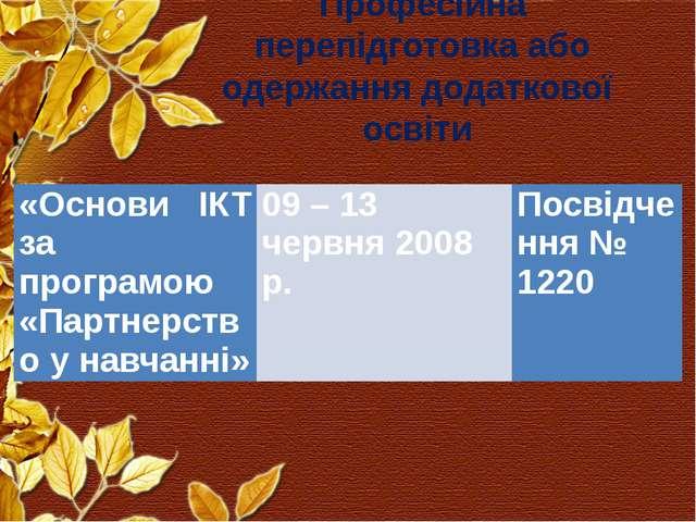 Професійна перепідготовка або одержання додаткової освіти «Основи ІКТ за прог...