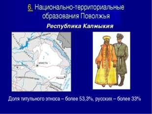 Республика Калмыкия Доля титульного этноса – более 53,3%, русских – более 33%