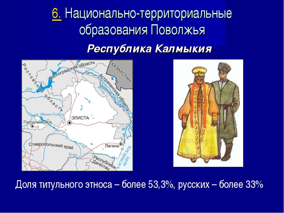 Республика Калмыкия Доля титульного этноса – более 53,3%, русских – более 33%...