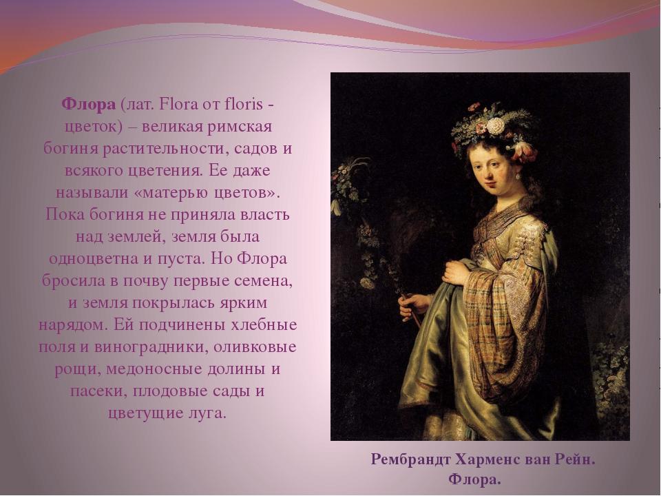 Рембрандт Харменс ван Рейн. Флора. Флора (лат. Flora от floris - цветок) – в...