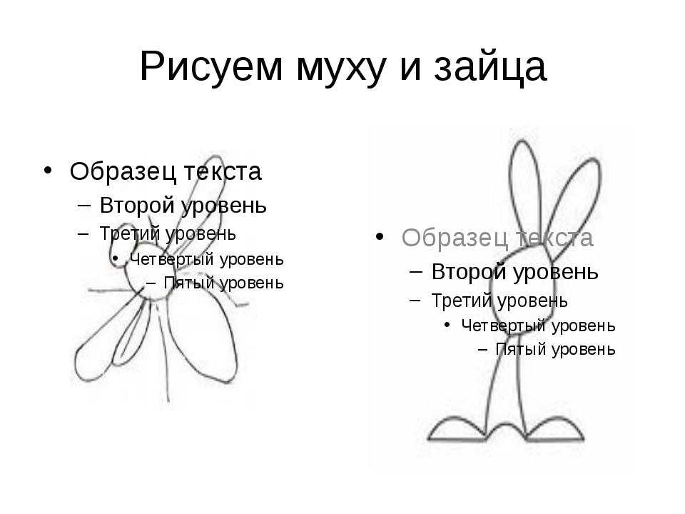 Рисуем муху и зайца