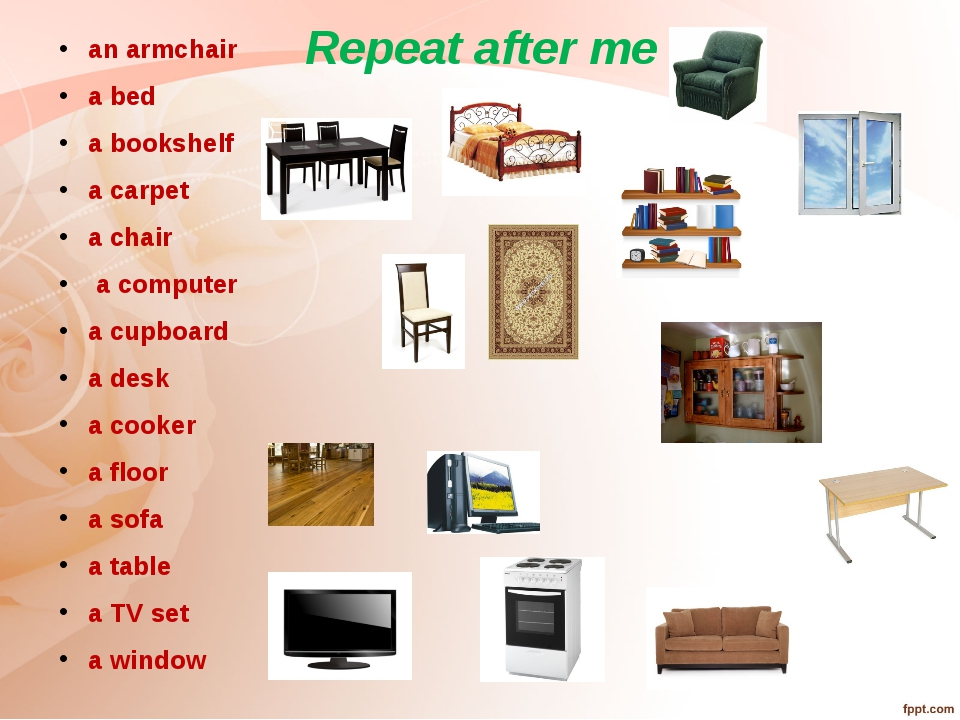 Repeat after me an armchair a bed a bookshelf a carpet a chair a computer a c...