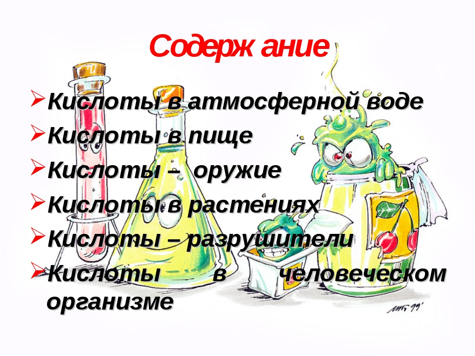 Содержание Кислоты в атмосферной воде Кислоты в пище Кислоты – оружие Кислоты...