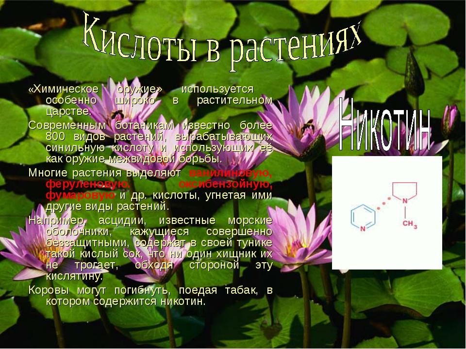 «Химическое оружие» используется особенно широко в растительном царстве. Совр...