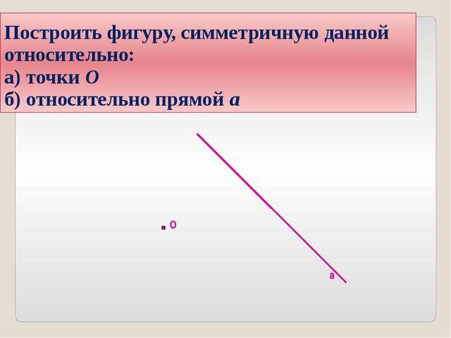 Построить фигуру, симметричную данной относительно: а) точки О б) относительн...