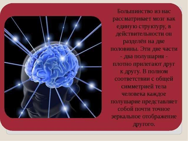 Большинство из нас рассматривает мозг как единую структуру, в действительност...