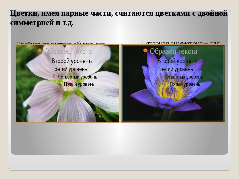 Цветки, имея парные части, считаются цветками с двойной симметрией и т.д. Тро...