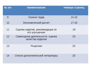 №п/п Наименование Номера страниц 9 10 Охрана труда Экономический расчет 14-16