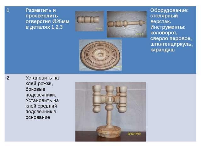 1 Разметить и просверлить отверстия Ø25мм в деталях 1,2,3 Оборудование: столя...