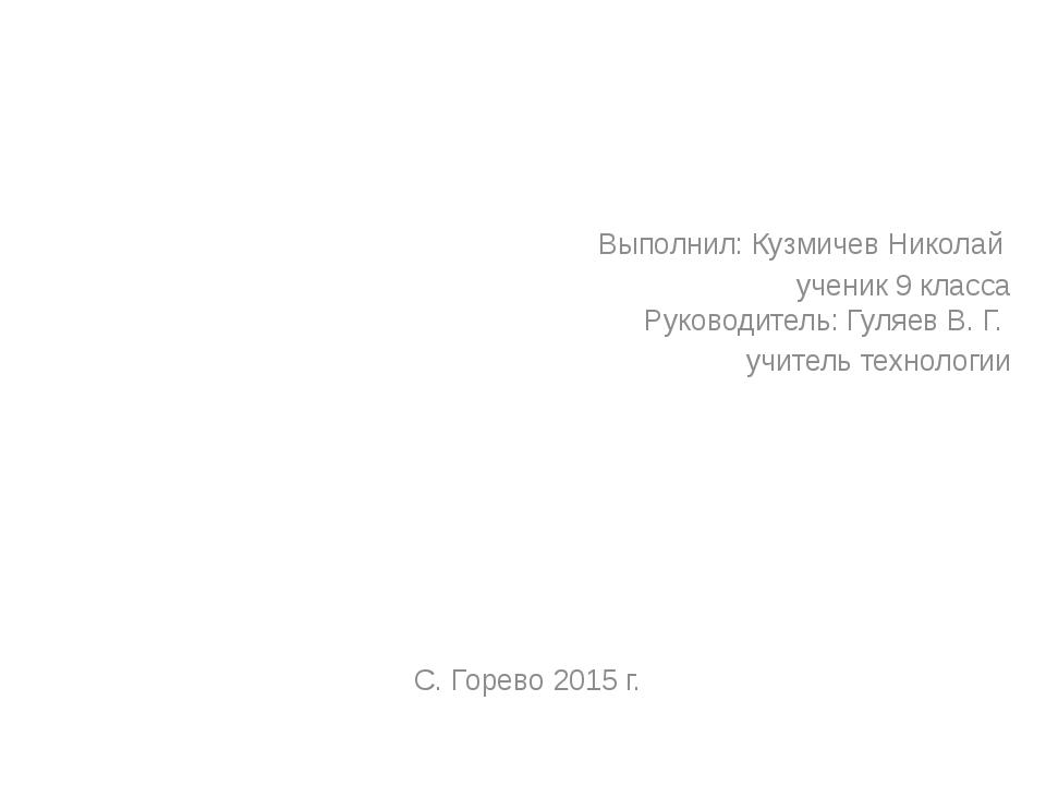 Выполнил: Кузмичев Николай ученик 9 класса Руководитель: Гуляев В. Г....