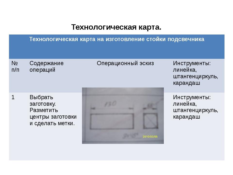 Технологическая карта. Технологическая карта на изготовление стойки подсвечни...