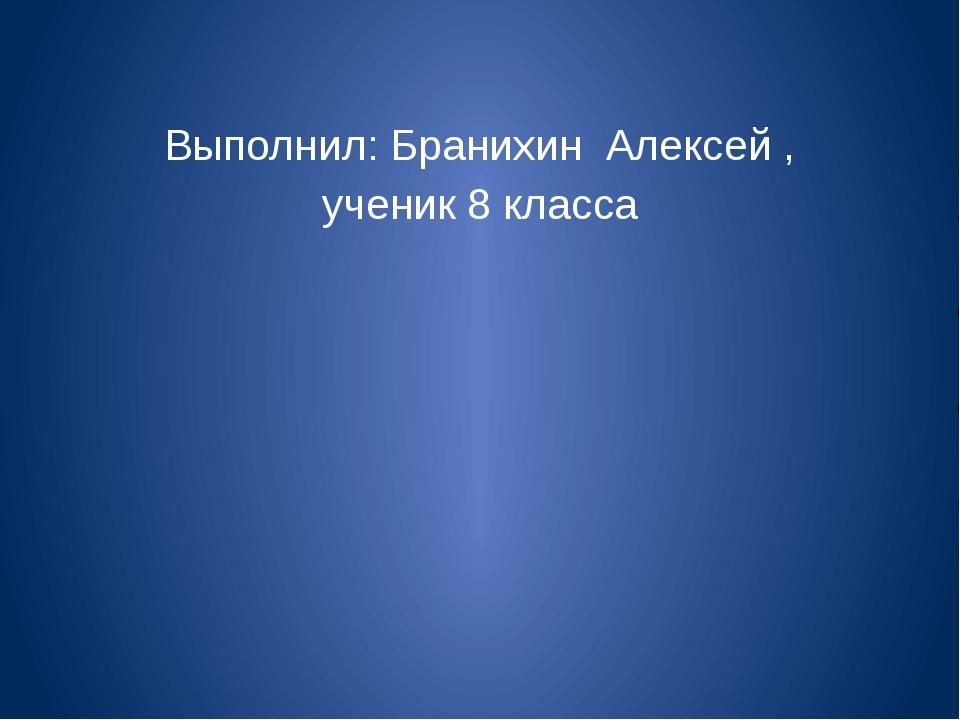 Выполнил: Бранихин Алексей , ученик 8 класса