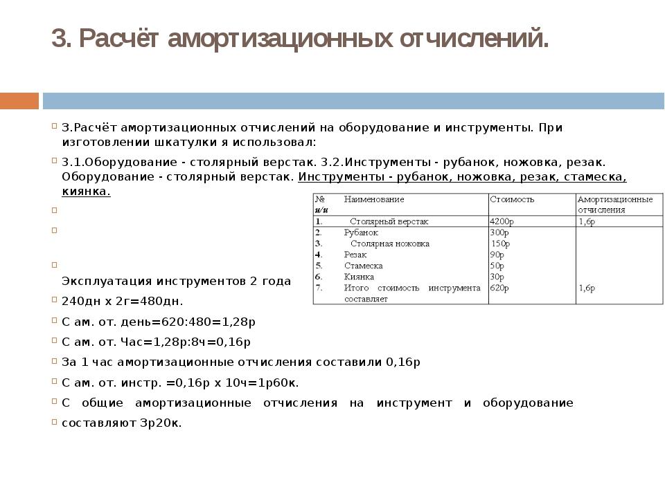 3. Расчёт амортизационных отчислений. З.Расчёт амортизационных отчислений на...