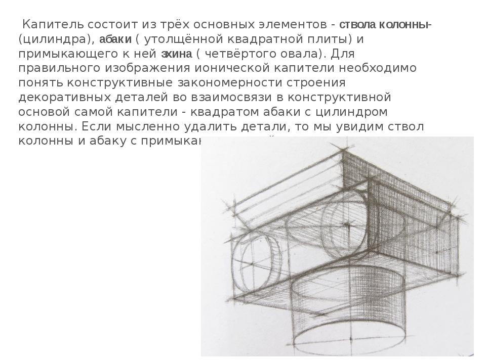 Капитель состоит из трёх основных элементов -ствола колонны-(цилиндра),аба...