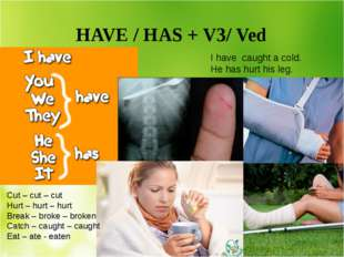 HAVE / HAS + V3/ Ved I have caught a cold. He has hurt his leg. Cut – cut –