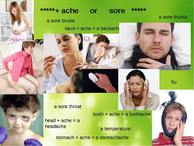 *****+ ache	 or	 sore ***** tooth + ache = a toothache back + ache = a backa...