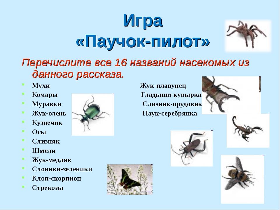 Игра «Паучок-пилот» Перечислите все 16 названий насекомых из данного рассказа...