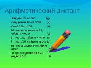 Арифметический диктант Найдите 1/4 от 200 (д) Чему равен 1% от 100? (м) Узнай