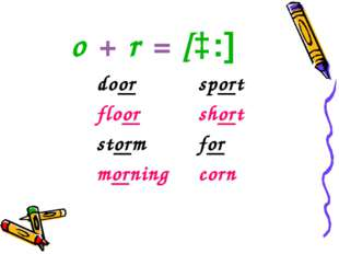 o + r = [ɔ:] doorsport floorshort stormfor morningcorn