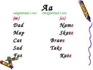 Aa закрытый слог открытый слог [æ][ei] DadName MapSkate Cat