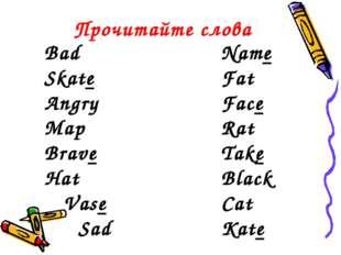 Прочитайте слова Bad Name Skate Fat Angry Face Map Ra