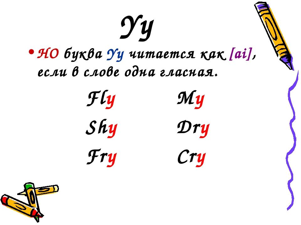 Yy НО буква Yy читается как [ai], если в слове одна гласная. FlyMy ShyDr...