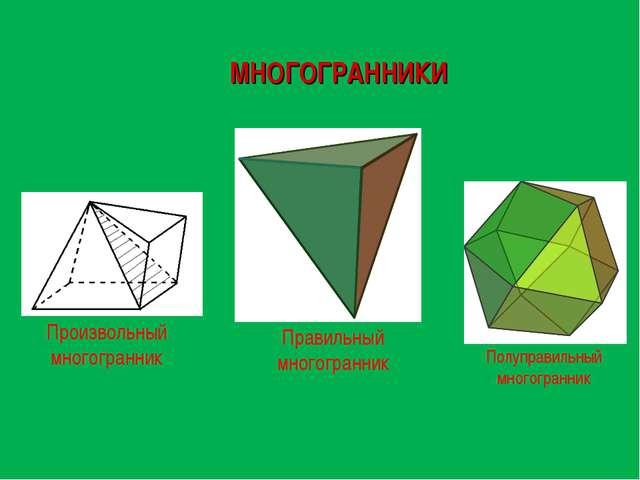 МНОГОГРАННИКИ Полуправильный многогранник Правильный многогранник Произвольны...