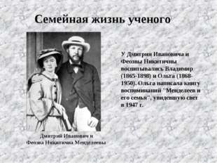 У Дмитрия Ивановича и Феозвы Никитичны воспитывались Владимир (1865-1898) и